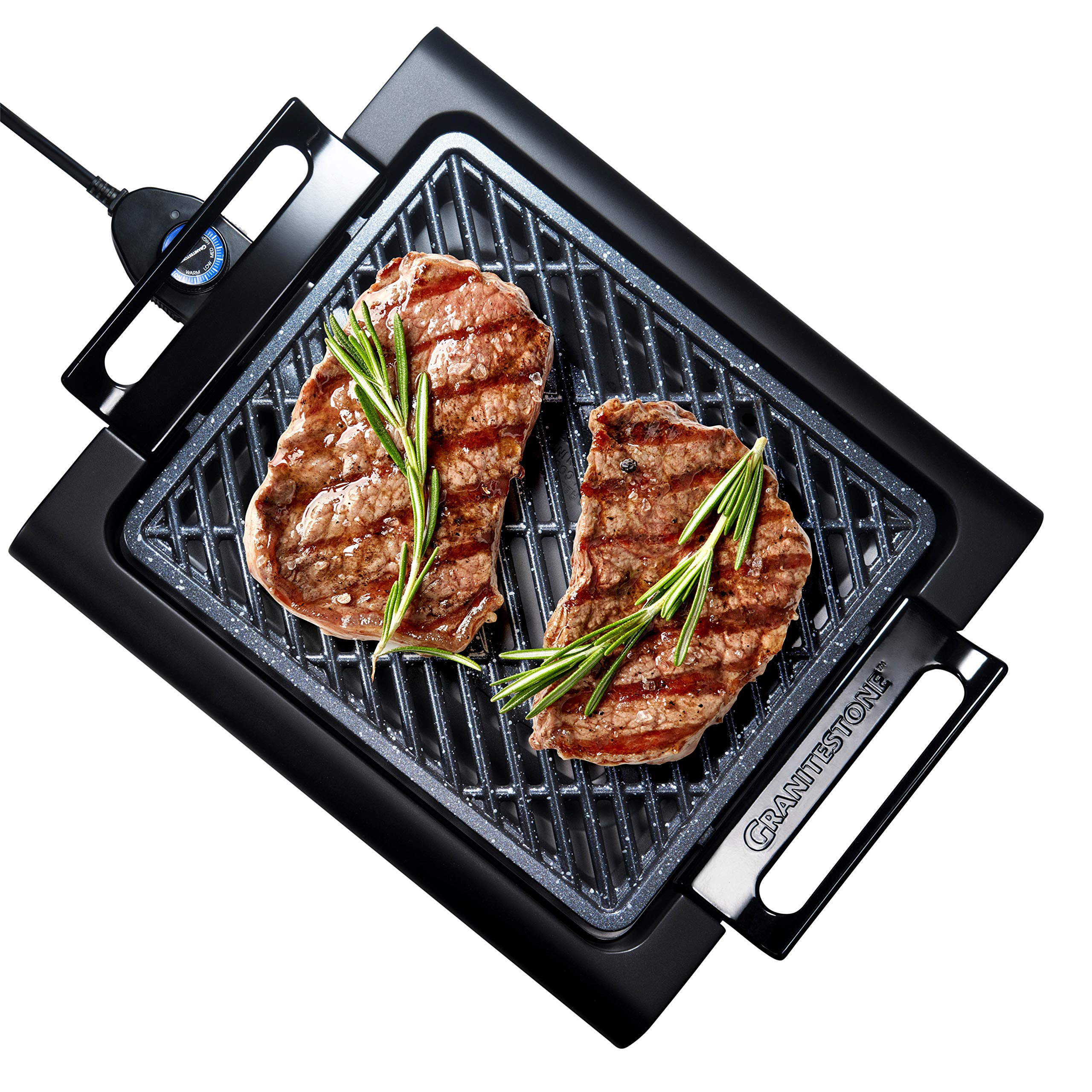 GRANITESTONE 2584 Indoor Electric Smoke-Less Grill with Cool-touch handles and adjustable Temperature Dial, Nonstick, PFOA-Free, Black 16 x 14'' As Seen On TV by GRANITESTONE
