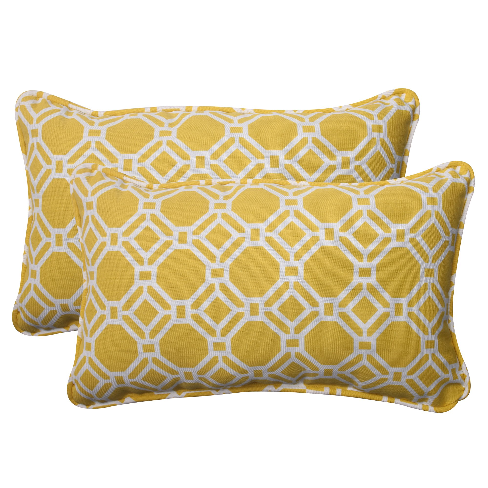 Pillow Perfect Outdoor Rossmere Corded Rectangular Throw Pillow, Yellow, Set of 2
