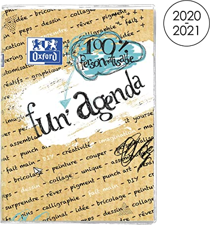 Calendrier Personnalisable 2021 OXFORD Agenda Scolaire Fun'Agenda 2020   2021 Format 12x18cm