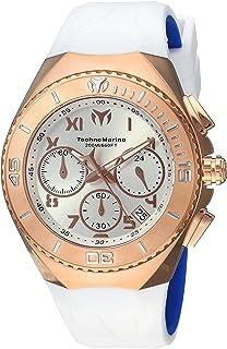 Technomarine Mens Manta Quartz Gold and Silicone Casual Watch, Color:White (