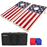 GoSports Flag Series Wood Cornhole Sets – Choose between American Flag and State Flags – Includes Two Regulation Size 4' x 2' Boards, 8 Bean Bags, Carrying Case and Game Rules