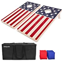 GoSports Regulation Size Solid Wood Cornhole Set – Choose American Flag, California Flag, Texas Flag – Includes Two 4' x 2' Boards, 8 Bean Bags, Carrying Case and Game Rules