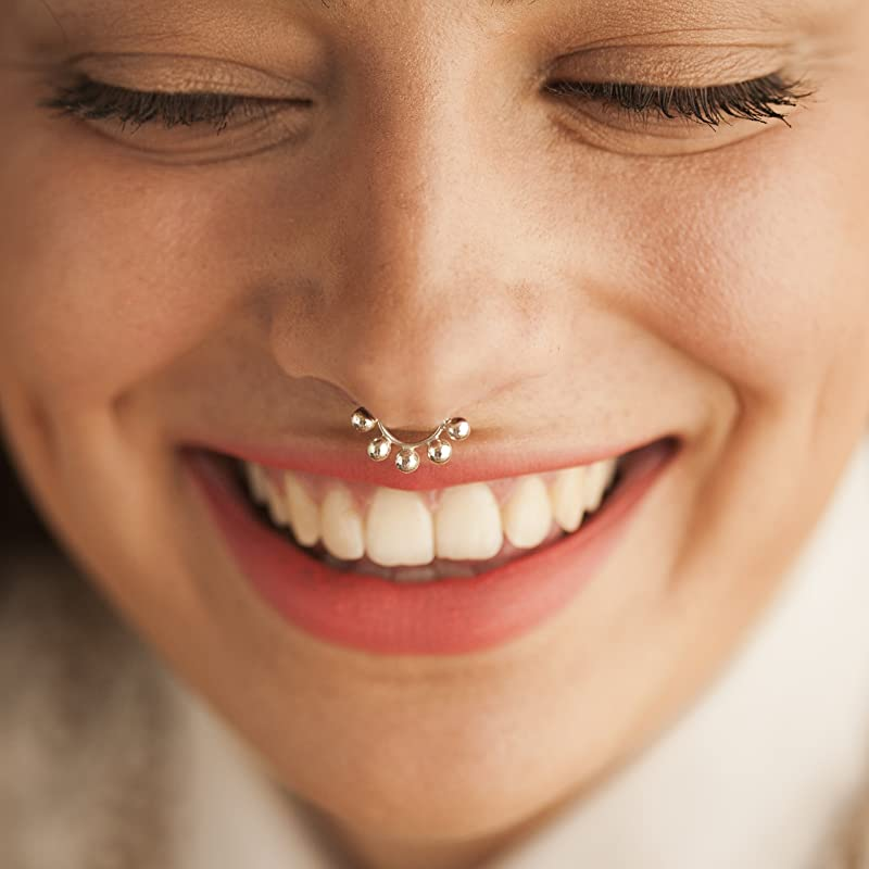 Nose Ring Ethnic Septum Ring Gypsy Body Jewelry Tribal Belly Dance #1875 Handmade Gold Plated 925 Sterling Silver Nose Ring