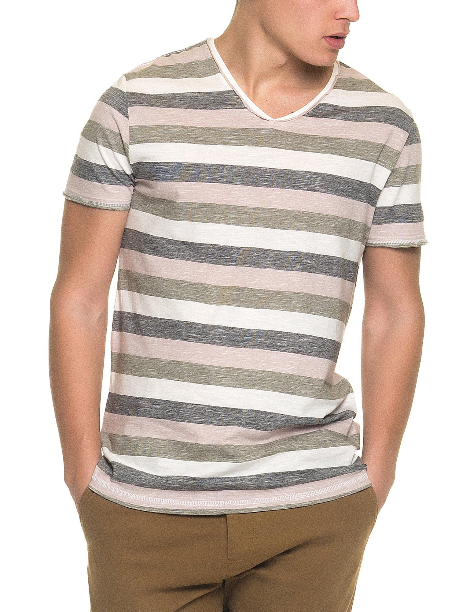 Garcia Jeans Men's Men's T-Shirt With Striped Print in Size XL Multicolour