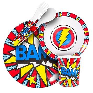 Super Power BAM-Blue//Red 2-Pack BooginHead Melamine Cup Set