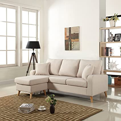 amazon com divano roma furniture mid century modern linen fabric rh amazon com sectional sofa sleeper small spaces modular sectional sofa small spaces