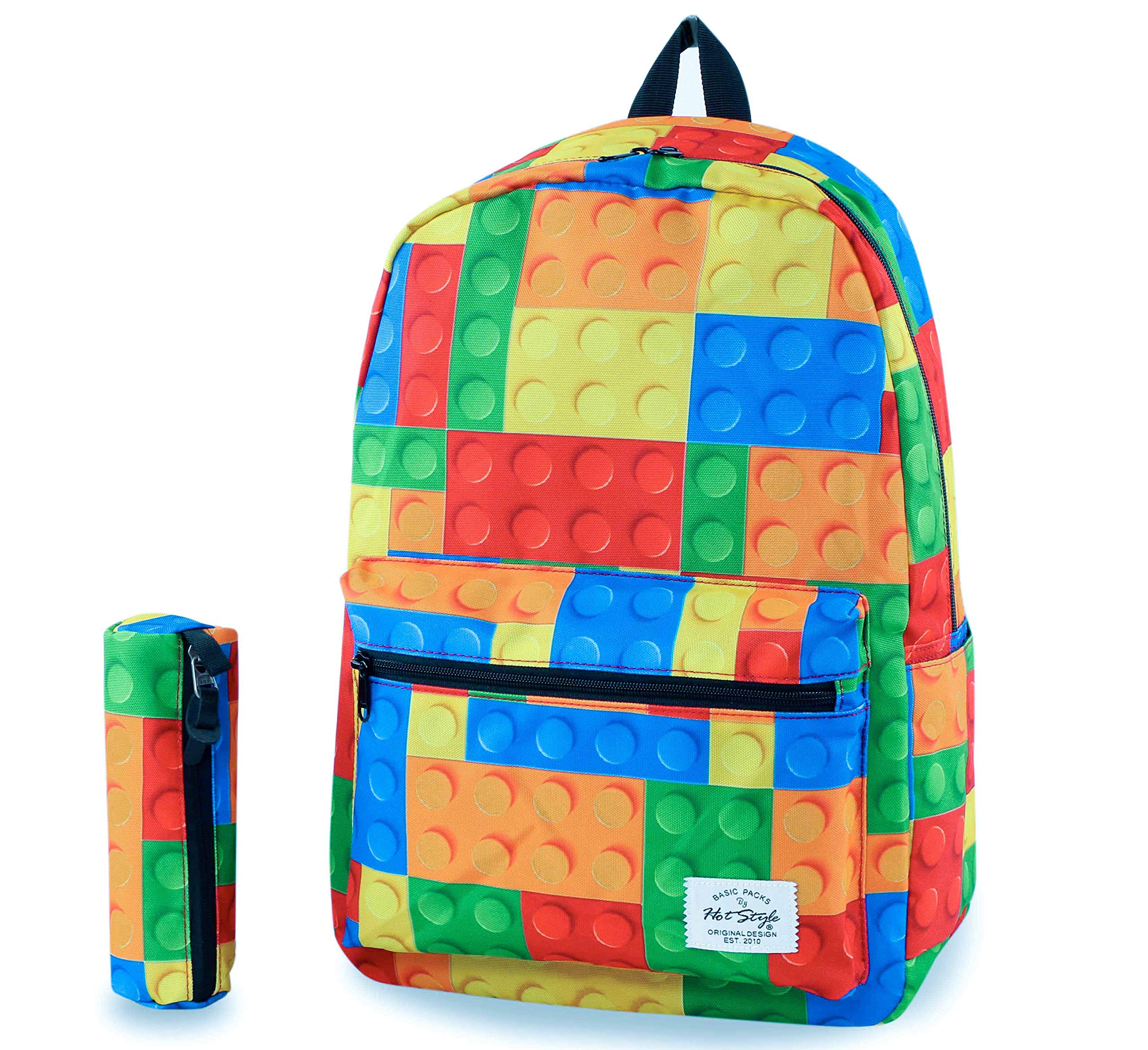 hotstyle TRENDYMAX Cute Backpack for School,Blocks | Bundles with Matching Pencil Bag by HotStyle