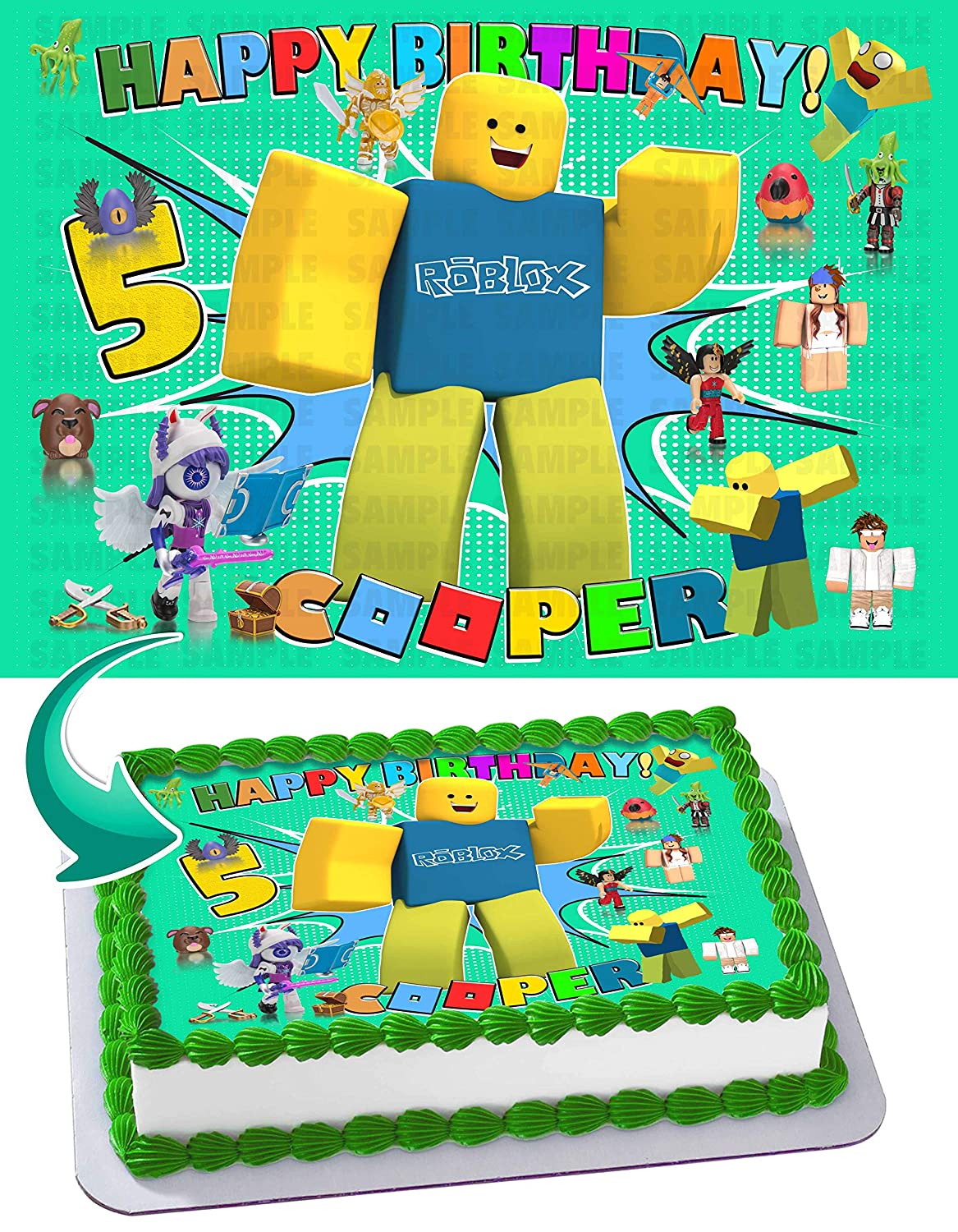 Roblox Character With Green Balloon Roblox Key Generator Roblox 2 Edible Image Cake Topper Party Personalized 1 4 Sheet Amazon Com Grocery Gourmet Food