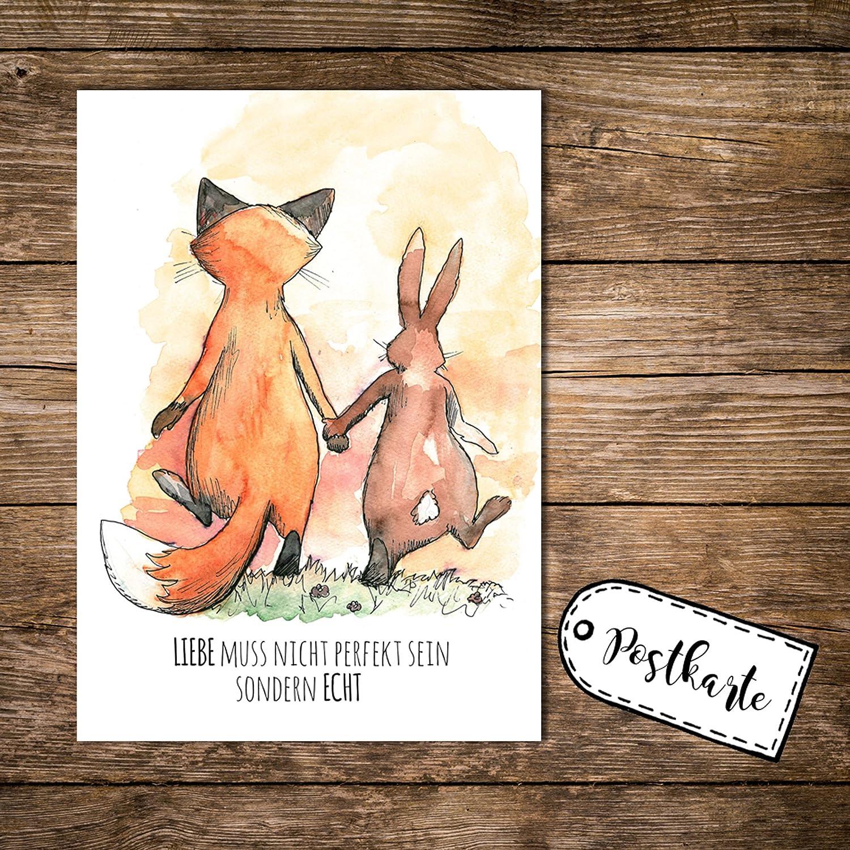 """Postkarte Liebe /""""Echt/"""" Schöner Spruch /& Motiv"""