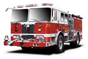 Large Fire Truck Wall Decal Sticker Firefighter Boys Bedroom Wall Decor Decoration Firetruck Engine Peel and Stick
