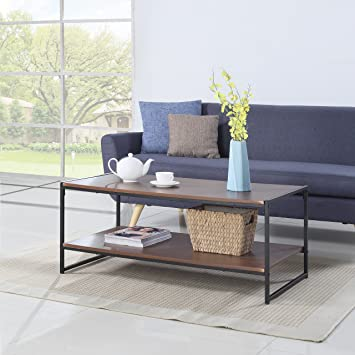 Amazoncom Modern Large Rectangular Coffee Table Brown Kitchen