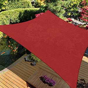 iCOVER Sun Shade Sail Canopy, 185GSM Fabric Permeable Pergolas Top Cover, for Outdoor Patio Lawn Garden Backyard Awning, 12'x16', Terra