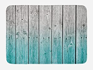 Ambesonne Rustic Bath Mat, Wood Panels Background with Digital Tones Effect Country House Art Image, Plush Bathroom Decor Mat with Non Slip Backing, 29.5