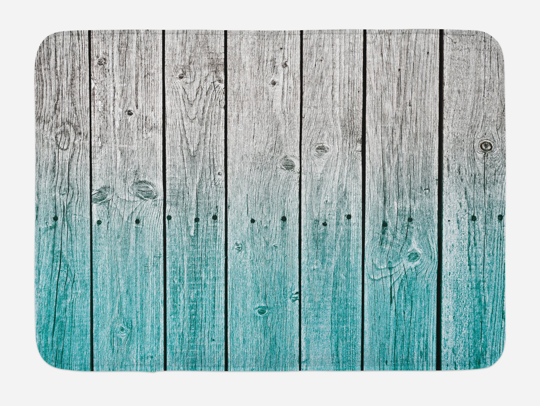 Ambesonne Rustic Bath Mat, Wood Panels Background with Digital Tones Effect Country House Art Image, Plush Bathroom Decor Mat with Non Slip Backing, 29.5 W X 17.5 W Inches, Pale Blue and Grey