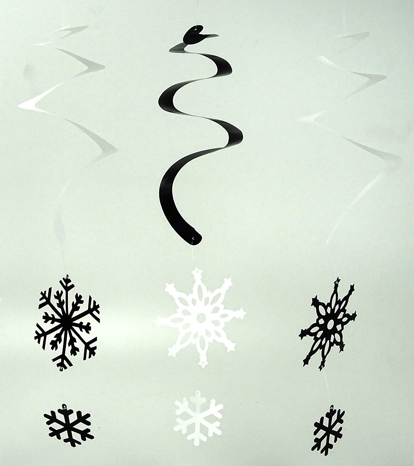12 Silver White Hanging Snowflake Swirl Decorations For Frozen Themed Parties by Toyland
