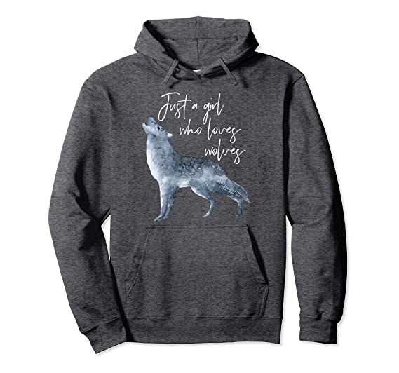 amazon com wolf hoodie for girls women just a girl who loves