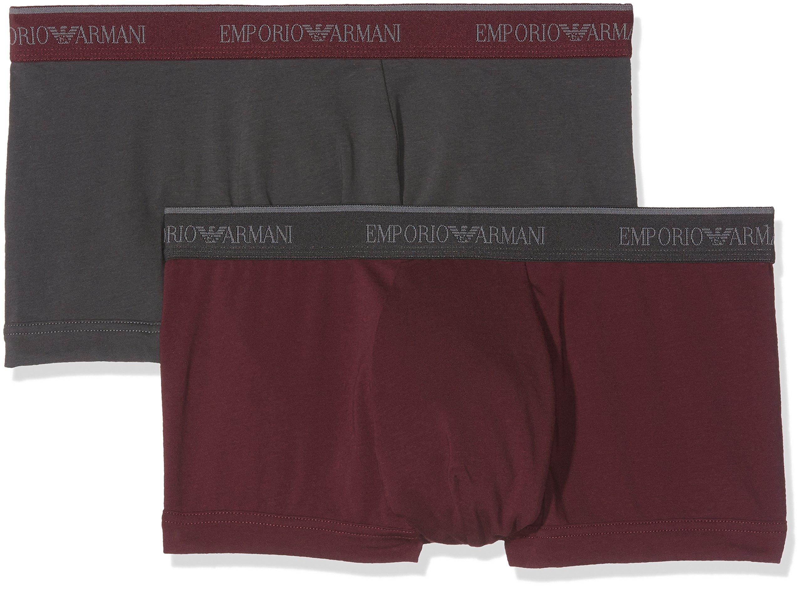 Emporio Armani Men's Stretch Cotton 2 Pack Trunk, Smoke/Aubergine, L