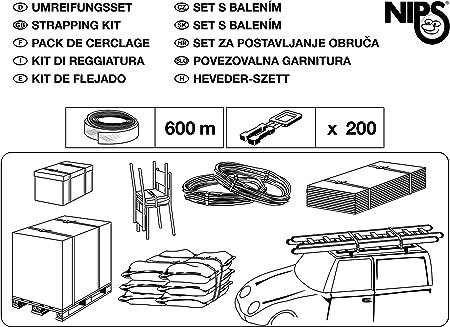 1000 m 12 mm NOIR polypropylène cerclage Bandes Fort Plastique Core