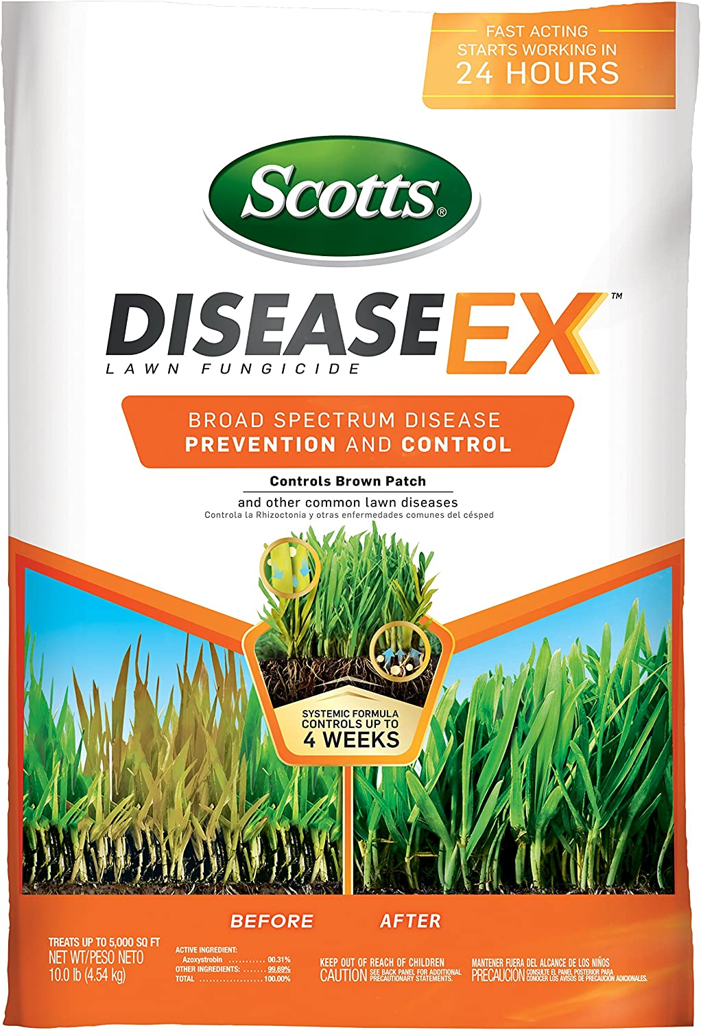 Amazon Com Scotts Diseaseex Lawn Fungicide Lawn Fungus Control Treatment Lawn Disease Control For Brown Patch Powdery Mildew More Controls Up To 4 Weeks Fast Acting Treats Up To