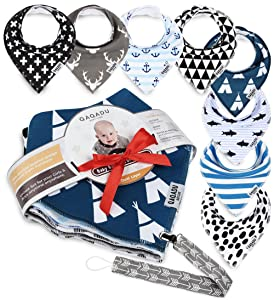 Baby Bandana Drool Bibs - 8 Gift Unisex Set - for Boys and Girls - Perfect for Newborns, Infants and Toodles - Organic Cotton Great for Drooling and Teething - Best Shower Gift - Trend Colors