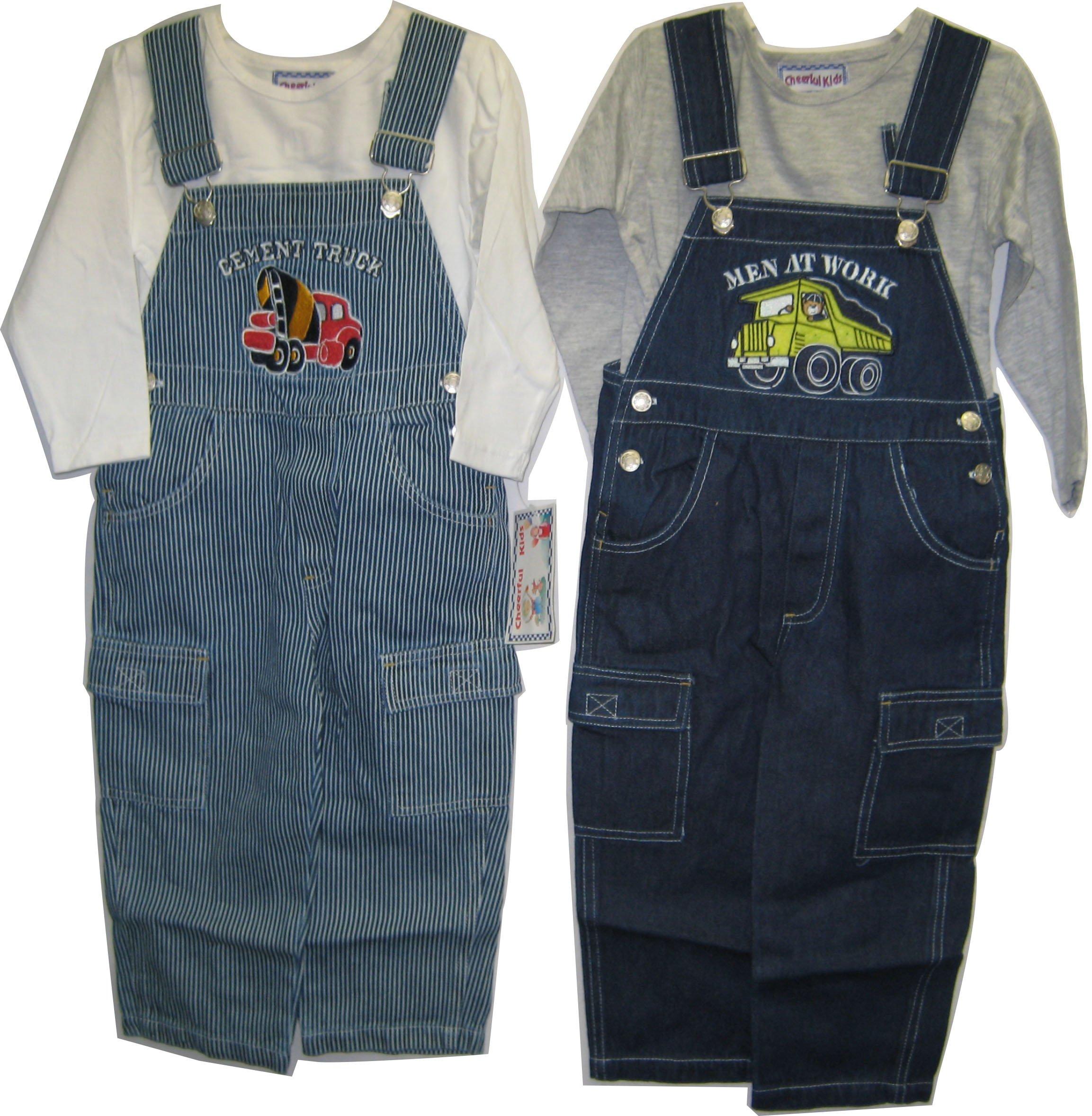 Boys Sizes 2T Indigo/Stripe Denim Embrodiery Overall 2-PC Set. 2 PACKS