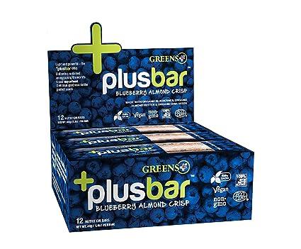 Plusbar Blueberry Almond Chia Crisp Box Greens+ (Orange Peel Enterprises) 12 Bars 1 Box