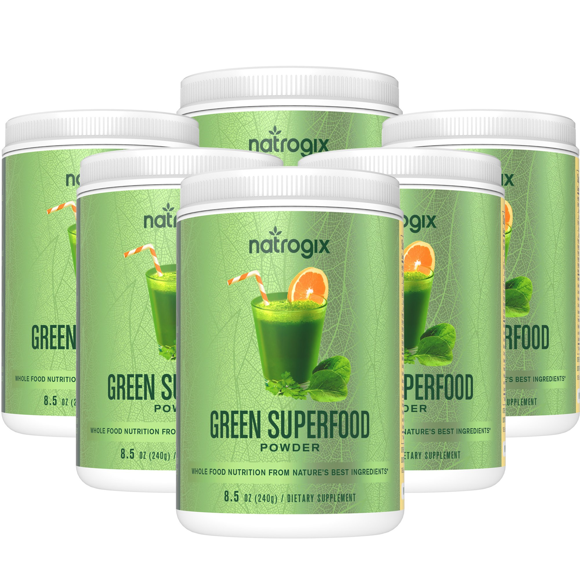 Natrogix Green Superfood Dietary Supplement - Gluten Free, Vegan Whole Food Nutrition & Powerful Antioxidant and Fiber Powder. Rich in Vitamins, Minerals and Probiotics (8.5Oz) * (5 Bottles).