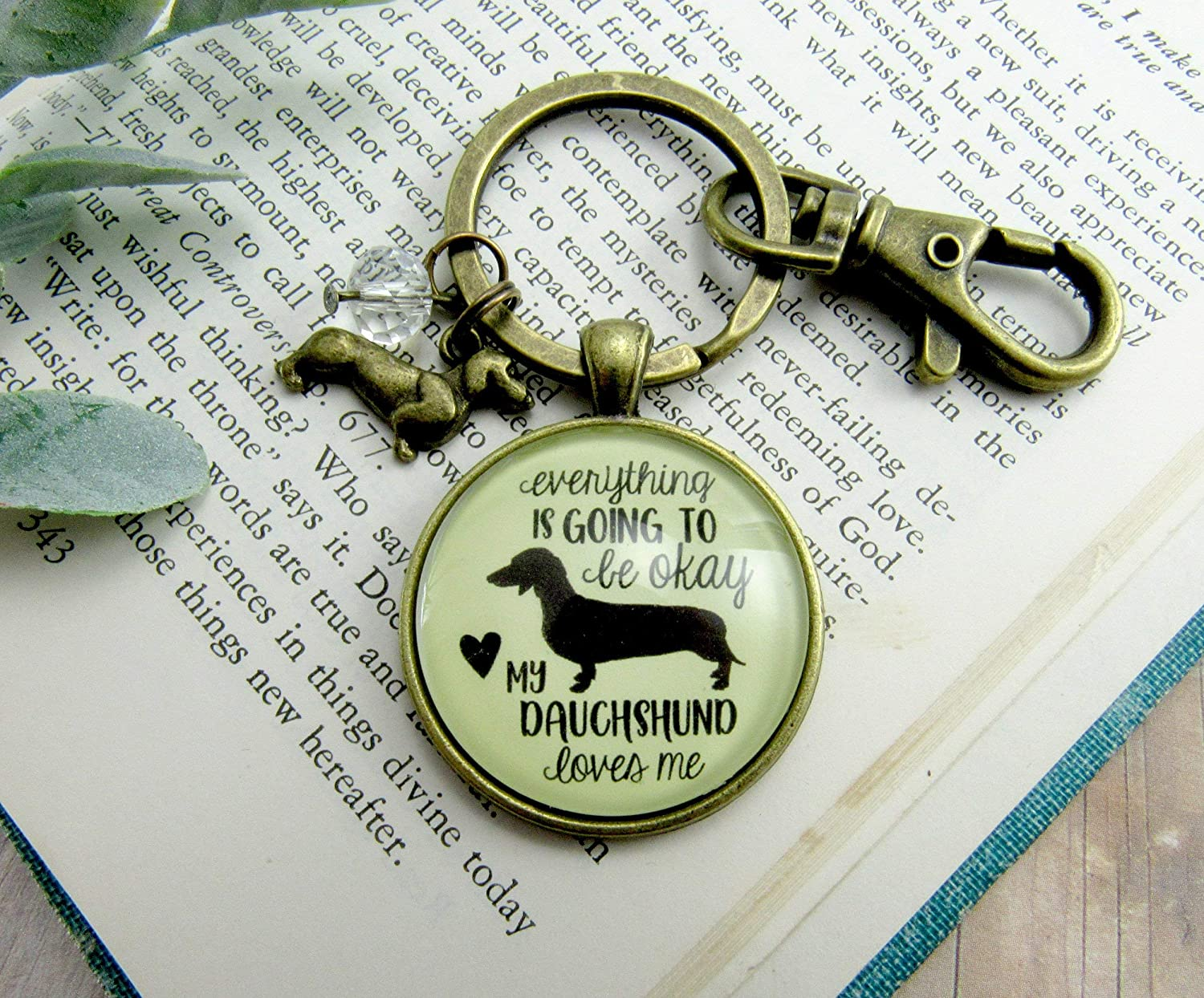 ... Dachshund Keychain Everything is Going to Be Okay My Dachshund Loves Me  Dog Mom Jewelry Womens ... 59070a1cb9
