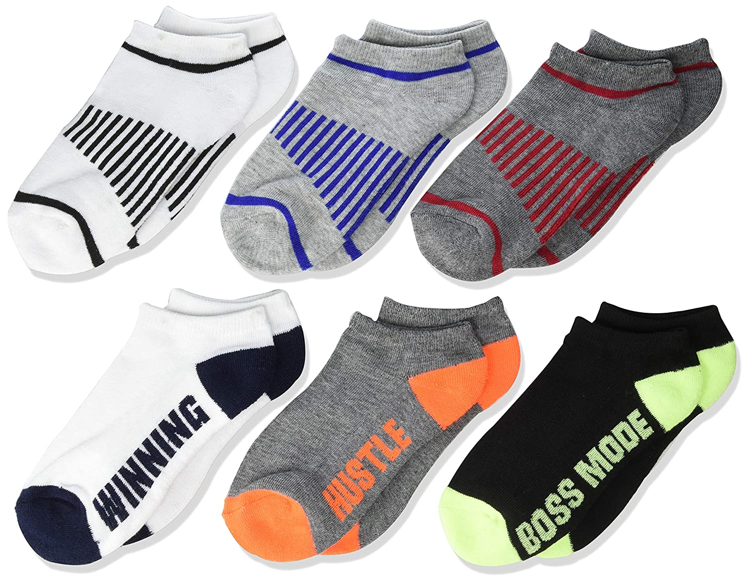 The Childrens Place Boys Big 6 Pack Novelty Printed Ankle Socks