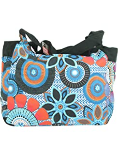 ec6035534e Extra Large Beach Bag Blue with zipper - Big floral canvas fabric bags for  ladies -