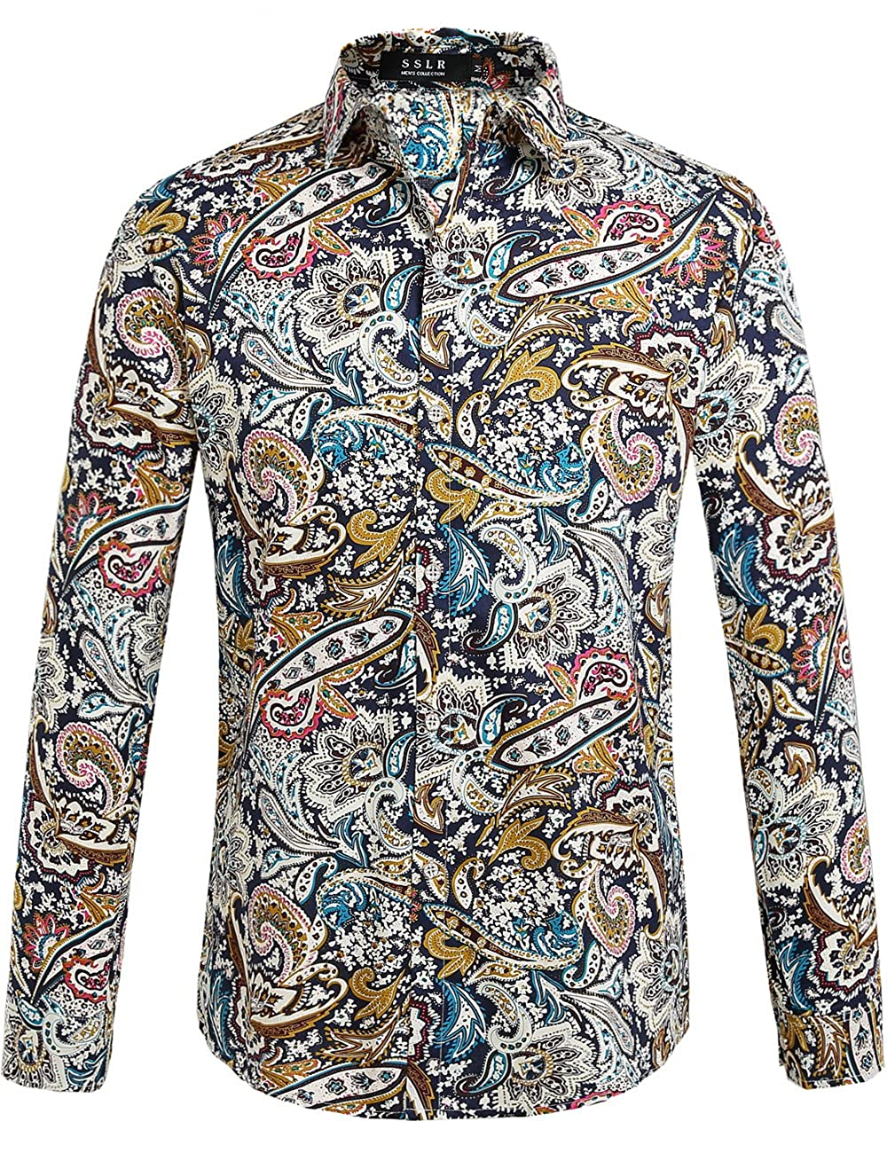 1960s – 70s Mens Shirts- Disco Shirts, Hippie Shirts SSLR Mens Paisley Cotton Casual Button Down Long Sleeve Shirt �26.42 AT vintagedancer.com