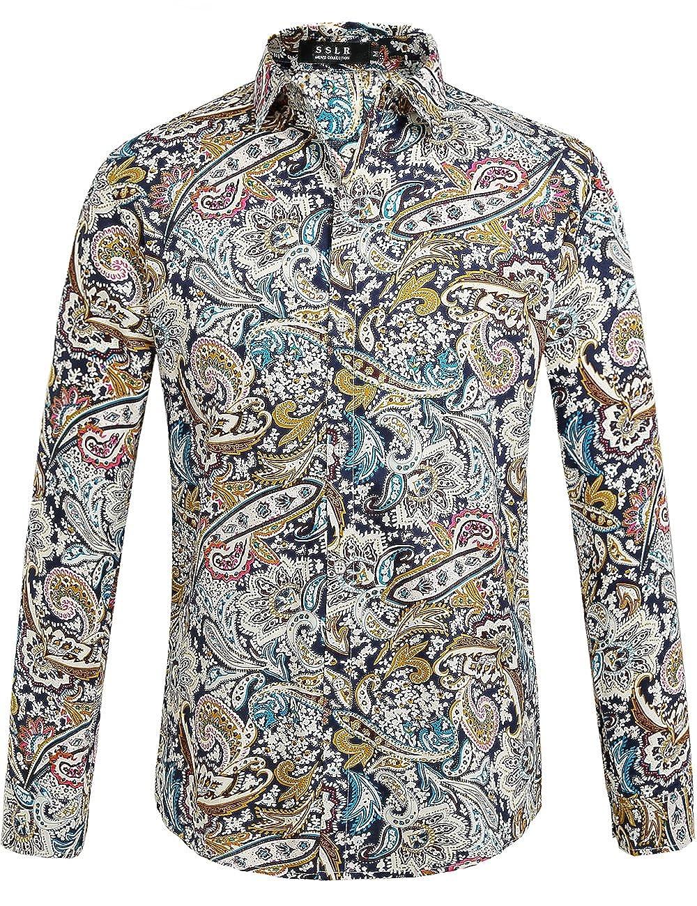 1960s Men's Clothing, 70s Men's Fashion SSLR Mens Paisley Cotton Casual Button Down Long Sleeve Shirt £26.42 AT vintagedancer.com