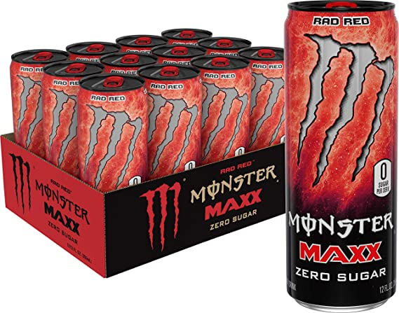 Amazon Com Monster Energy Maxx Rad Red Zero Sugar Energy Drink 12 Oz Pack Of 12 Grocery Gourmet Food