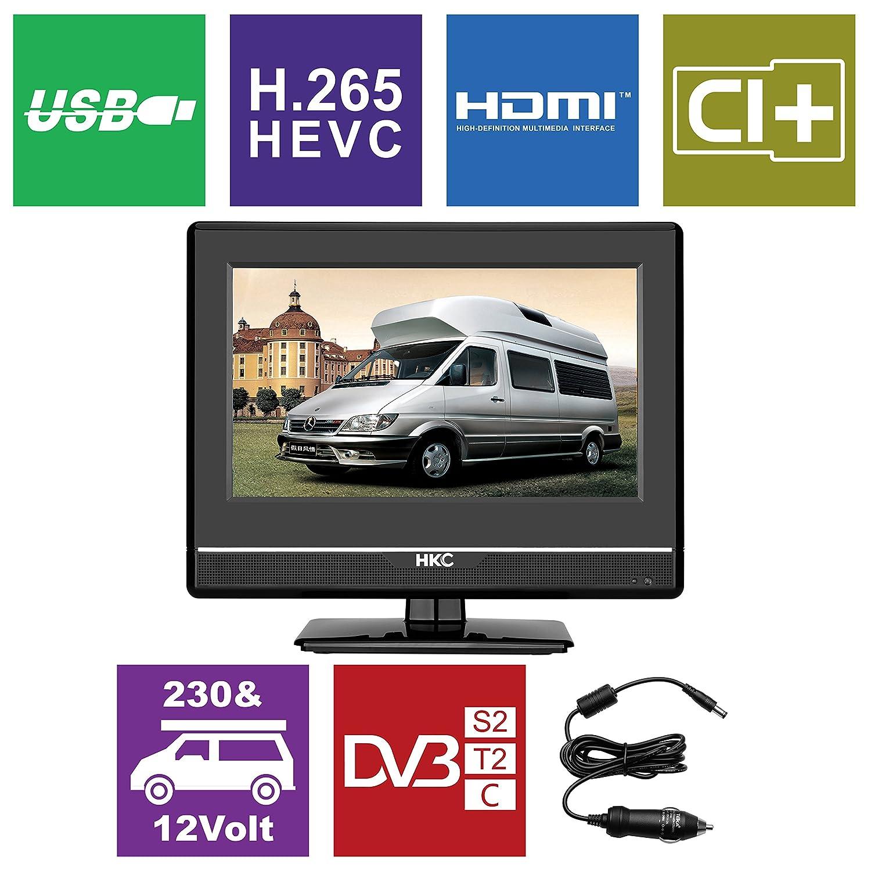 HKC TV LCD 13M4 da 13,3 '(33,68 cm) (triplo tuner, DVB-T2 / S2 / T / S / C, CI +, H.265 / HEVC. 230V / 12V, caricabatterie da 12 volt incluso, USB2.0, PVR / Timeshift pronto) 3 (33 B07B8QHB8F