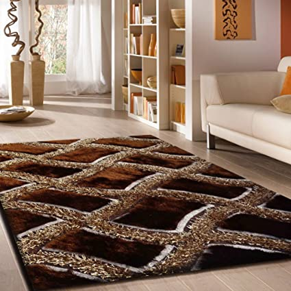 Shaggy Viscose Design Collection Area Rug Hand Tufted Contemporary