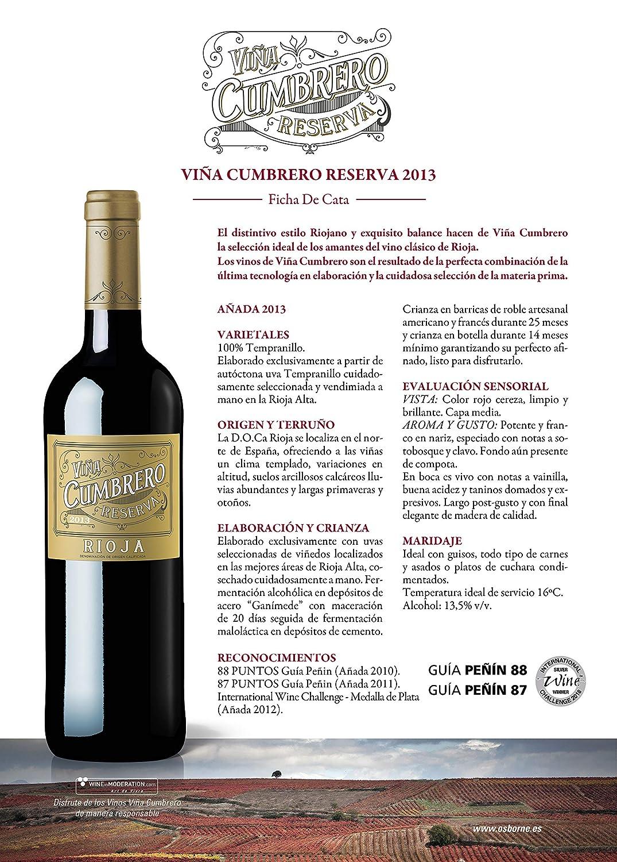 Vino Tinto Viña Cumbrero Reserva Denominación de Origen Calificada de Rioja: Amazon.es: Alimentación y bebidas