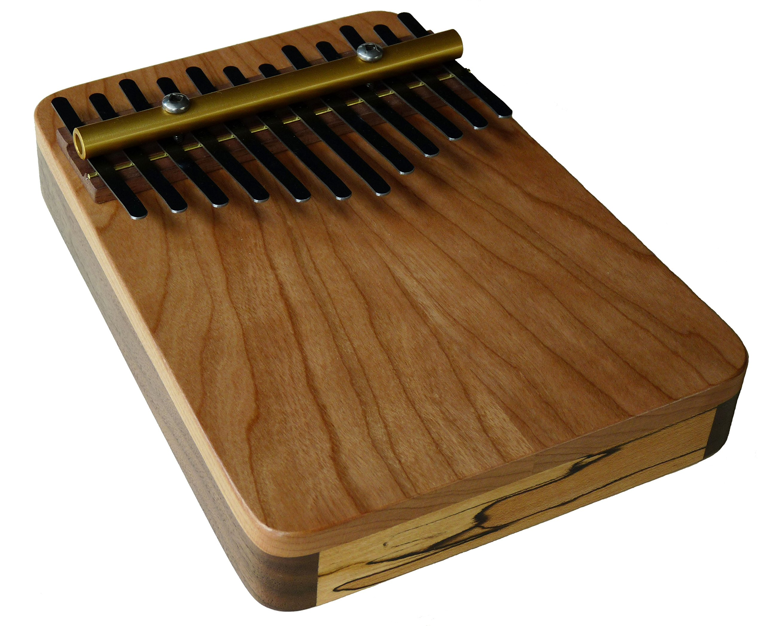 Zither Heaven Artisan Triple Wood 12 Note Thumb Piano in Cherry, Blackwalnut and Spalted Maple made in the USA