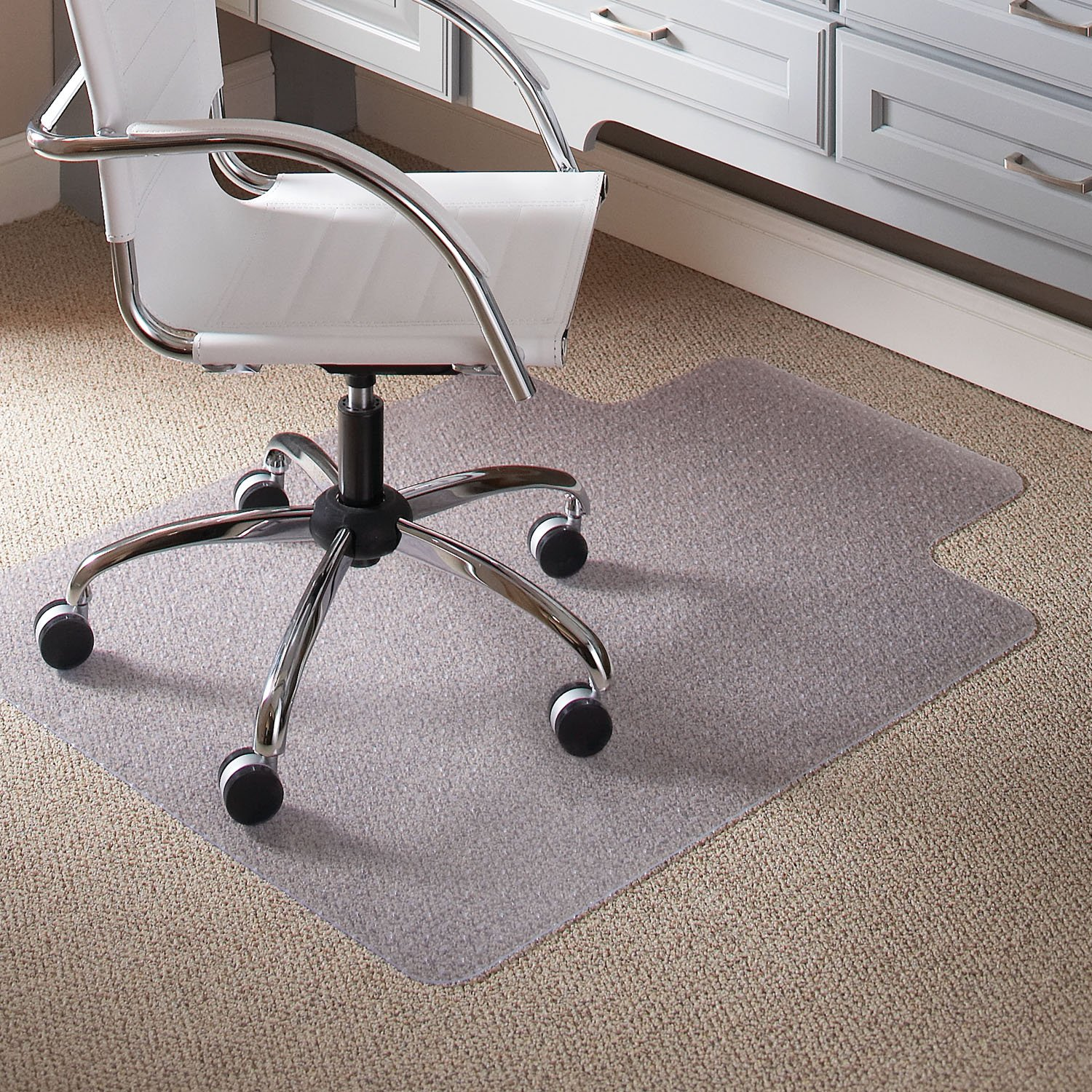Carpet Chair Mats for Low Pile, 45-Inch by 53-Inch with Lip, Clear Vinyl