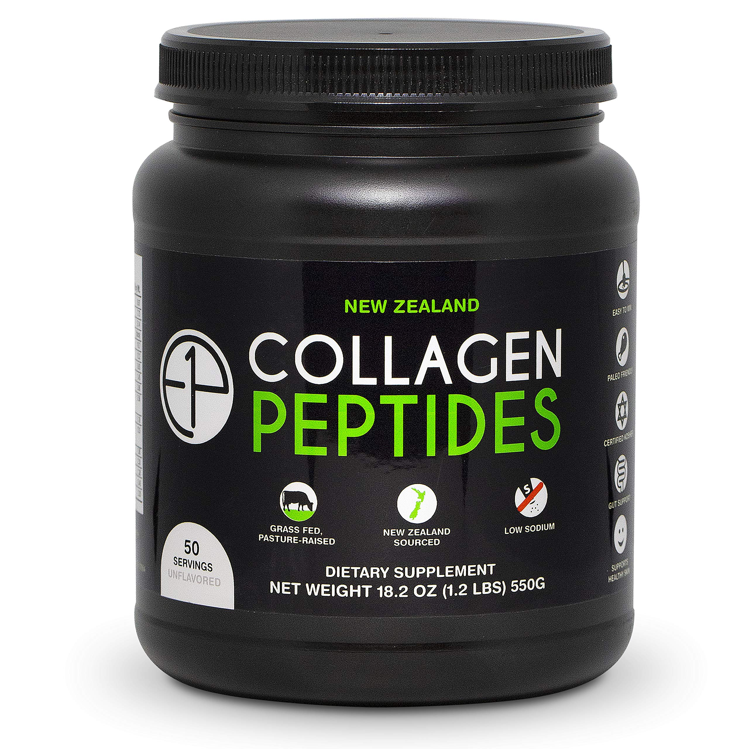 New Zealand Collagen Peptides Powder (18.2oz) 50 Servings Unflavored, Grass-Fed, Pasture-Raised, Non-GMO by E1P