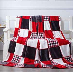 Tache Home Fashion Holiday Red Super Soft Fleece Plaid Patchwork Throw Bed Blanket, 63x87 Inches Queen (4025)