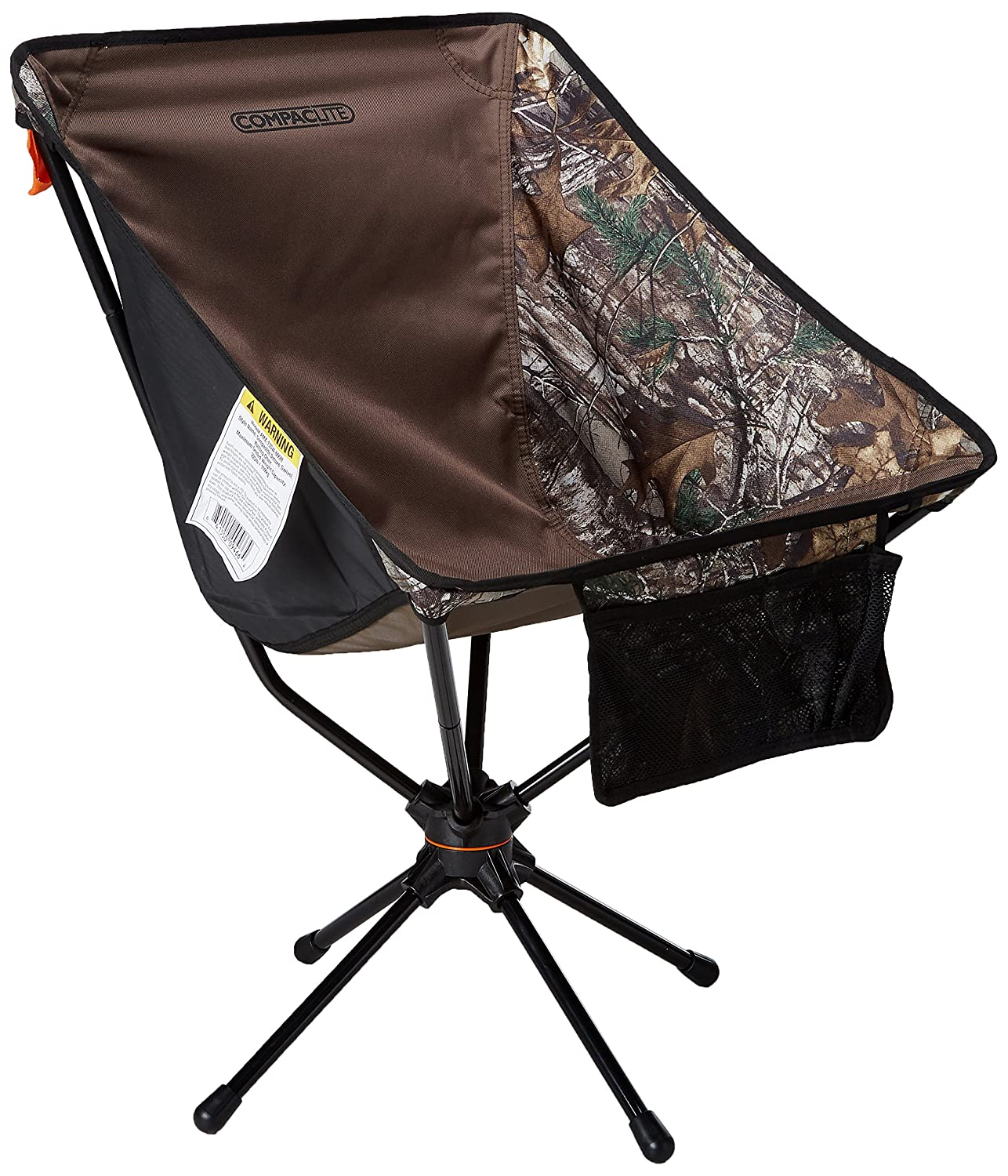 Compaclite Patented Deluxe 360 Swivel Steel Camping Portable Chair for Outdoor Camping Picnic Hiking Bicycling Fishing BBQ Beach Patio with Carry Bag, Camo
