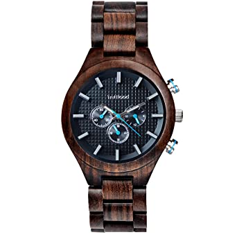 TruWood Pilot Wooden Watch with Black Sandalwood and All-Wood Band