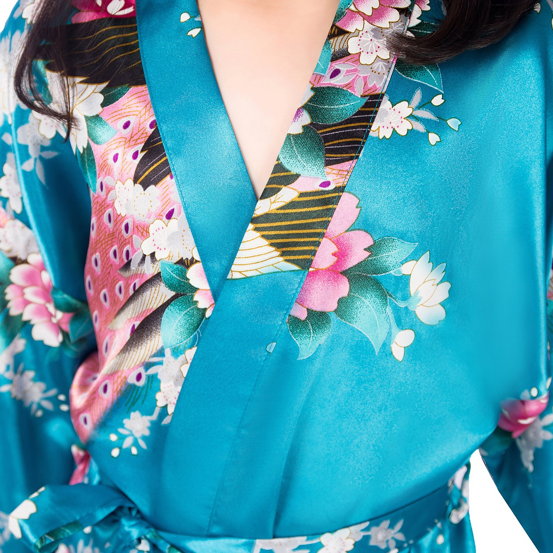 CuteOn Ni/ños Ni/ñas Kimono Sat/én de Seda Soft Blossom Peacock Albornoces Pijamas para los Ni/ños Vestido de Novia