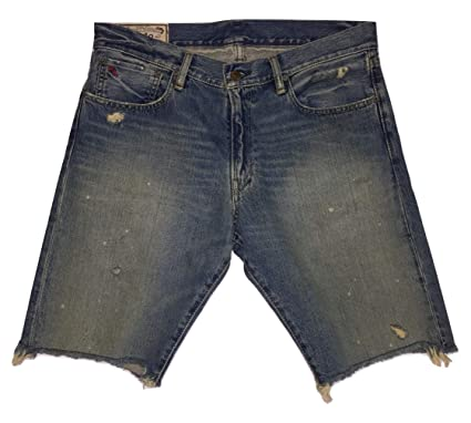 51643c8eb Polo Ralph Lauren Men s Destruct Jean Shorts Long Fray Bottom Denim Short  at Amazon Men s Clothing store
