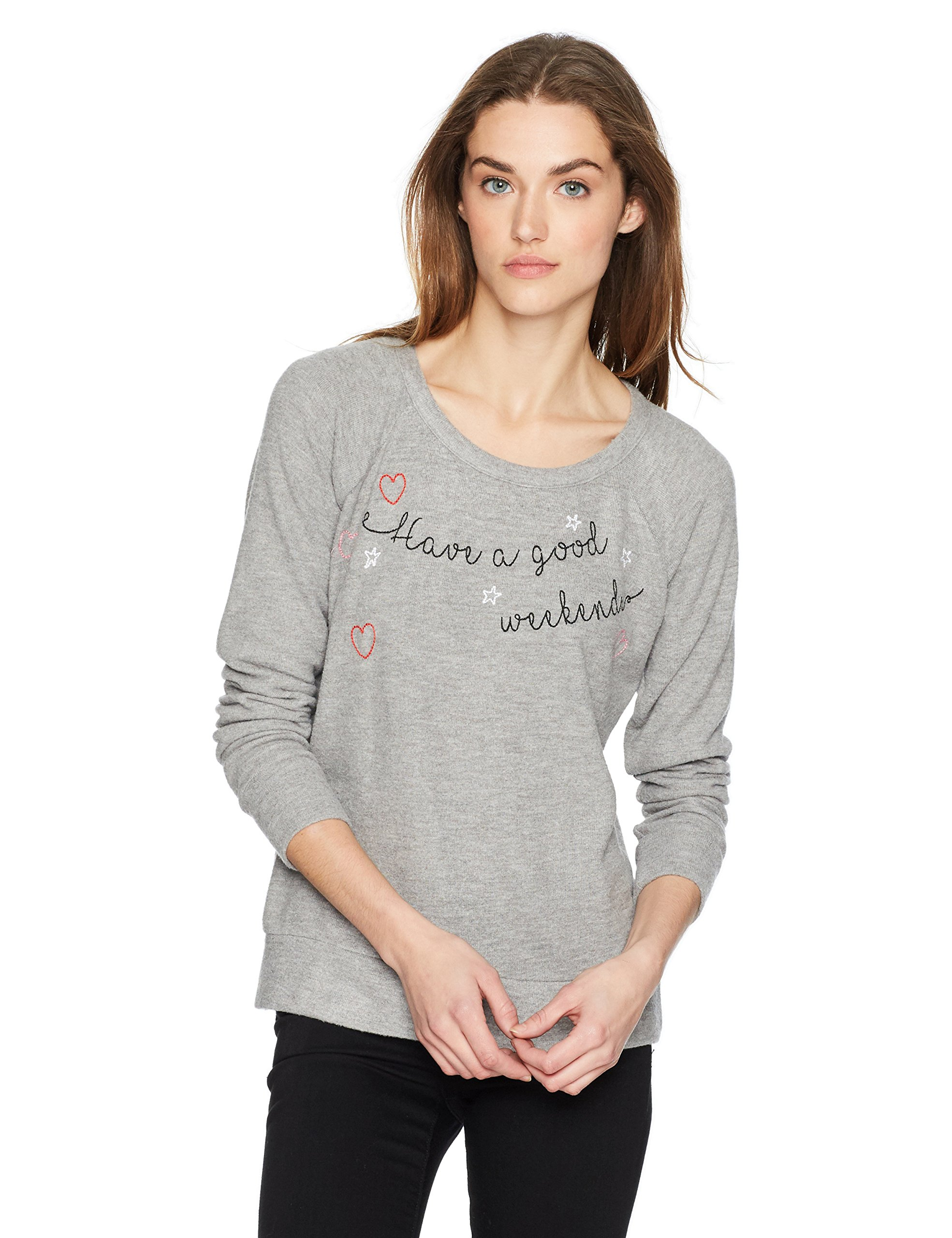CHASER Women's Love Knit Long Sleeve Raglan Pullover, Heather Grey, LG