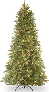 National Tree Company 'Feel Real' Pre-lit Artificial Christmas Tree | Includes Pre-strung White Lights and Stand | Tiffany Fir Slim - 6.5 ft