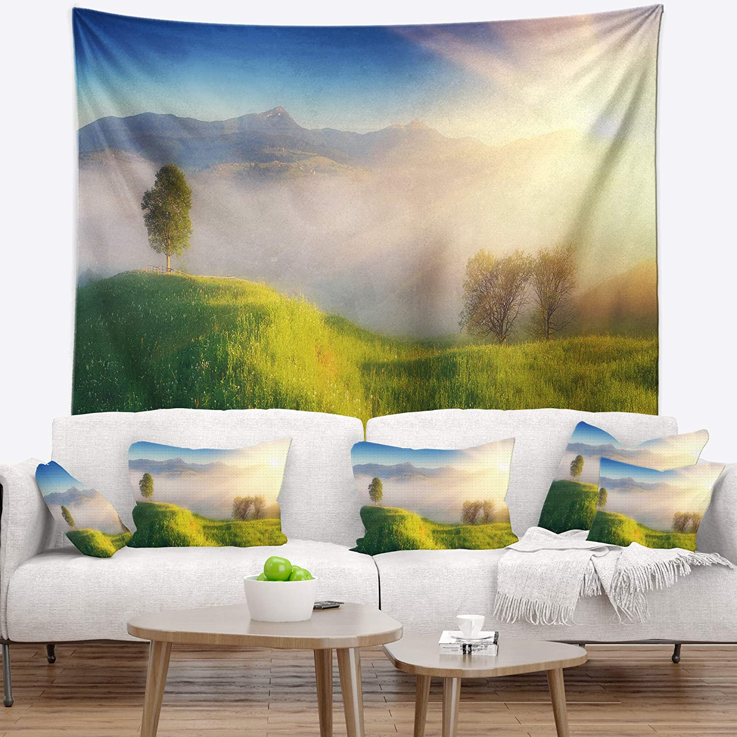 X 32 In Designart Tap14312 39 32 Morning Mist Over Mountain Village Landscape Blanket Décor Art For Home And Office Wall Tapestry Medium Created On Lightweight Polyester Fabric 39 In Home Kitchen Tapestries