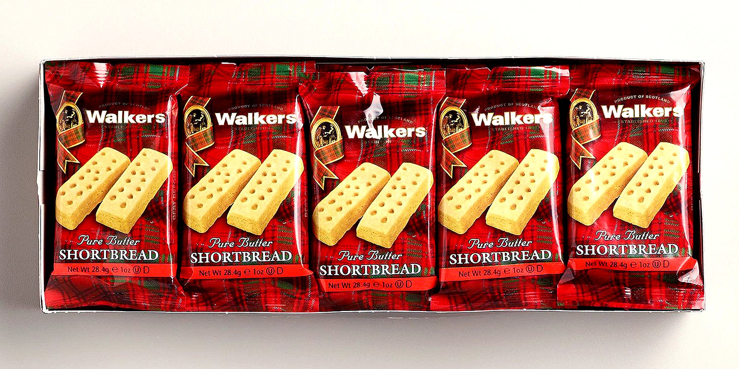 Walker Pure Danish Butter Cookies- Shortbread Fingers Natural Ingredients Biscuit | Best for Gifts | Wrapped Individual and Perfect Pocket Packs On the Go Snacks | 1 Pack 20 X 2 (568 g./20 Oz.)