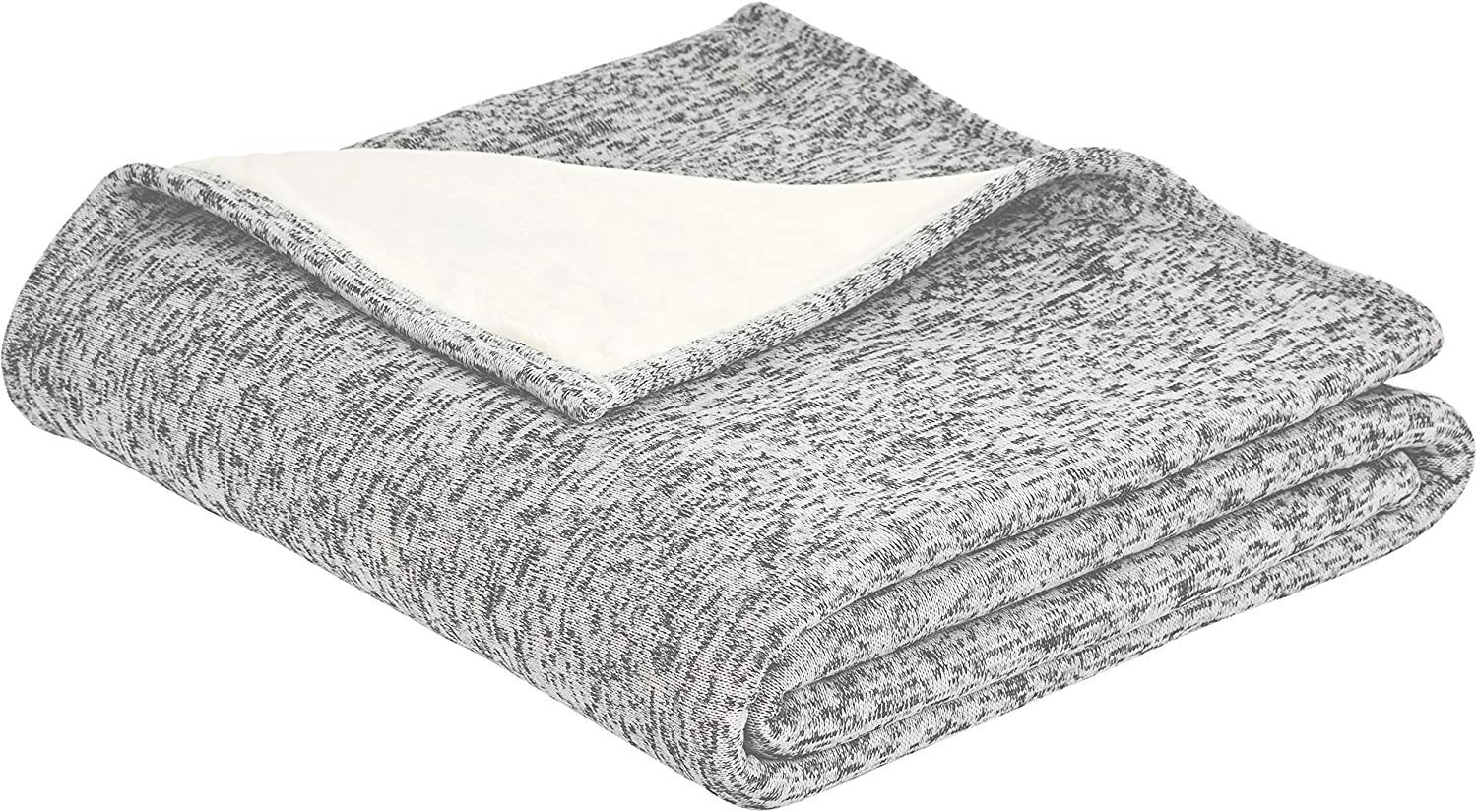 AmazonBasics Reversible Heather Knitted & Sherpa Throw Blanket - 50 x 60 Inch, Grey