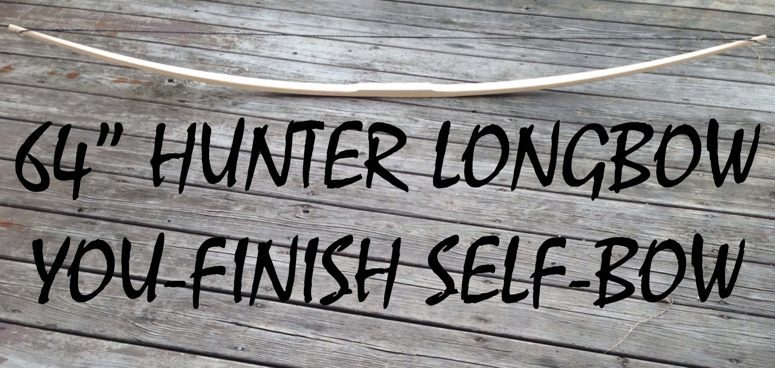 60lb 64'' You-Finish Traditional Hickory Longbow! Competition or Hunting Bow! Wood Archery!